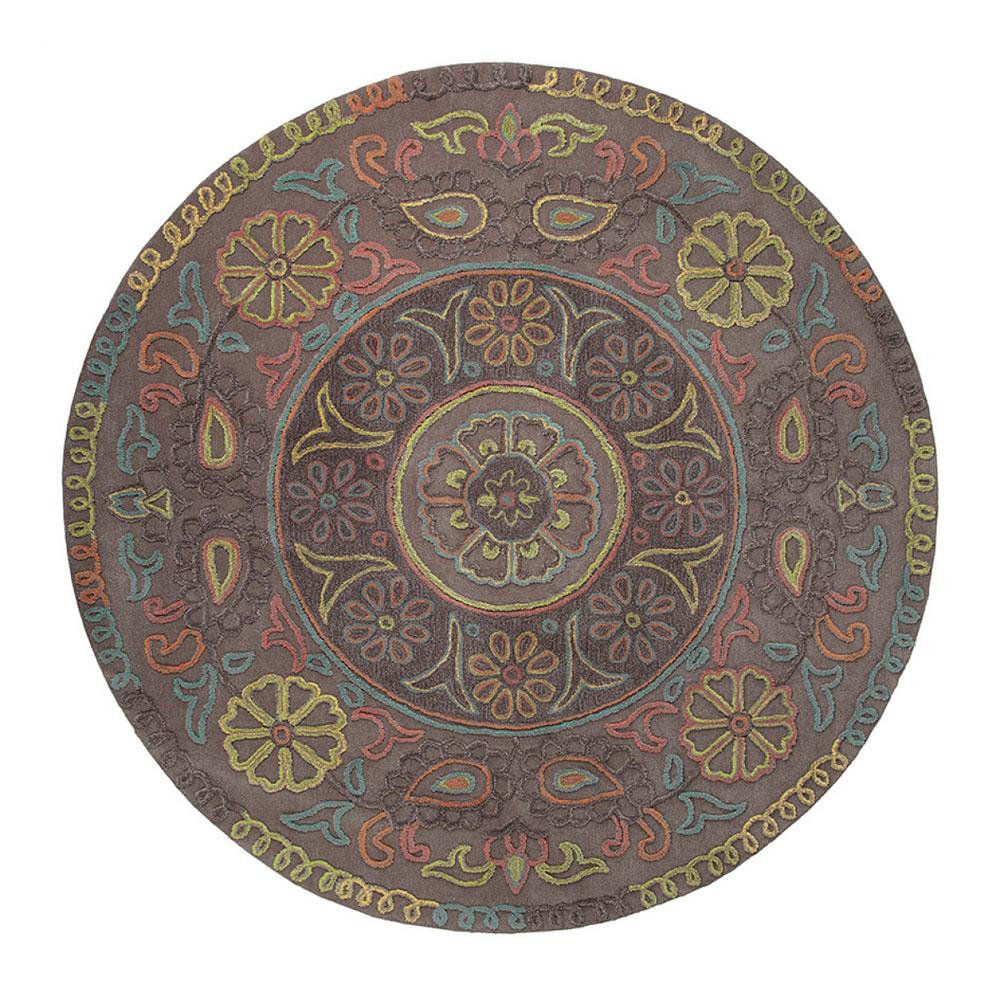 tapis rond esprit home mandala taupe 150x150. Black Bedroom Furniture Sets. Home Design Ideas