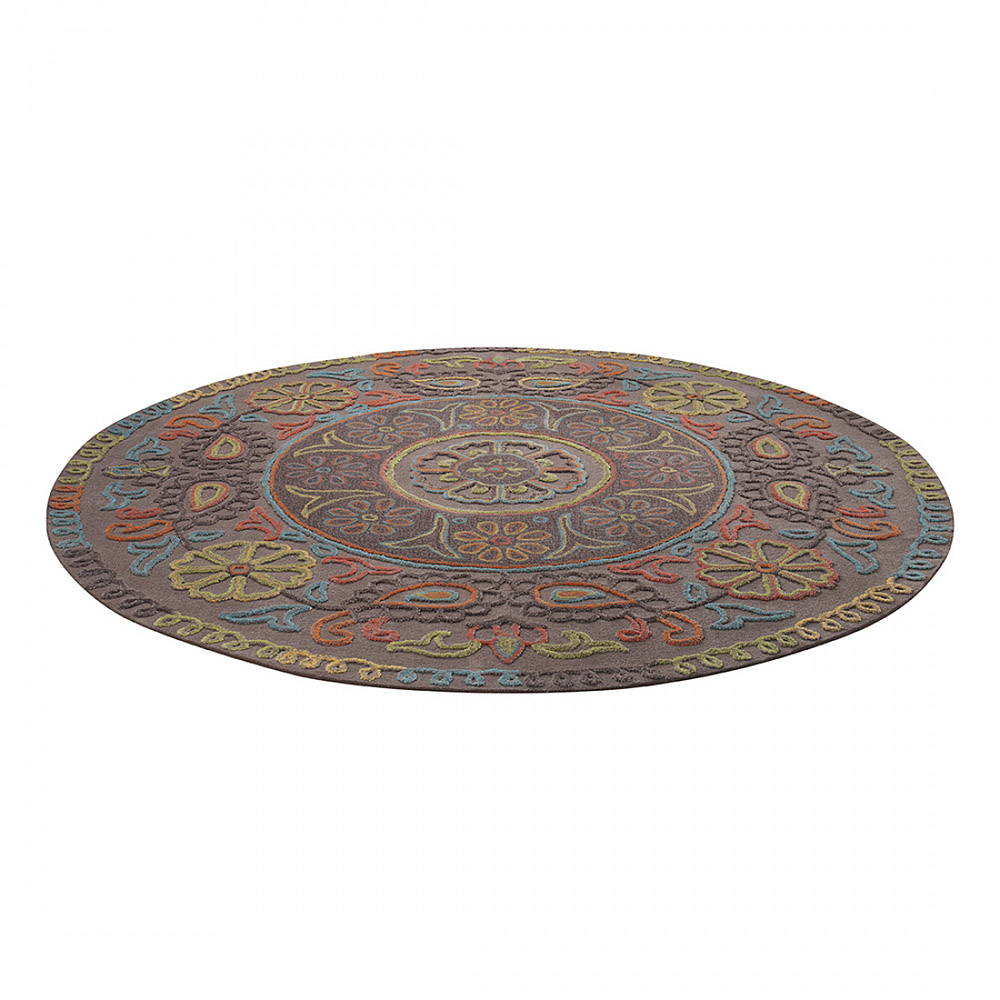 tapis rond esprit home mandala taupe 150x150. Black Bedroom Furniture Sets. Home Design Ideas