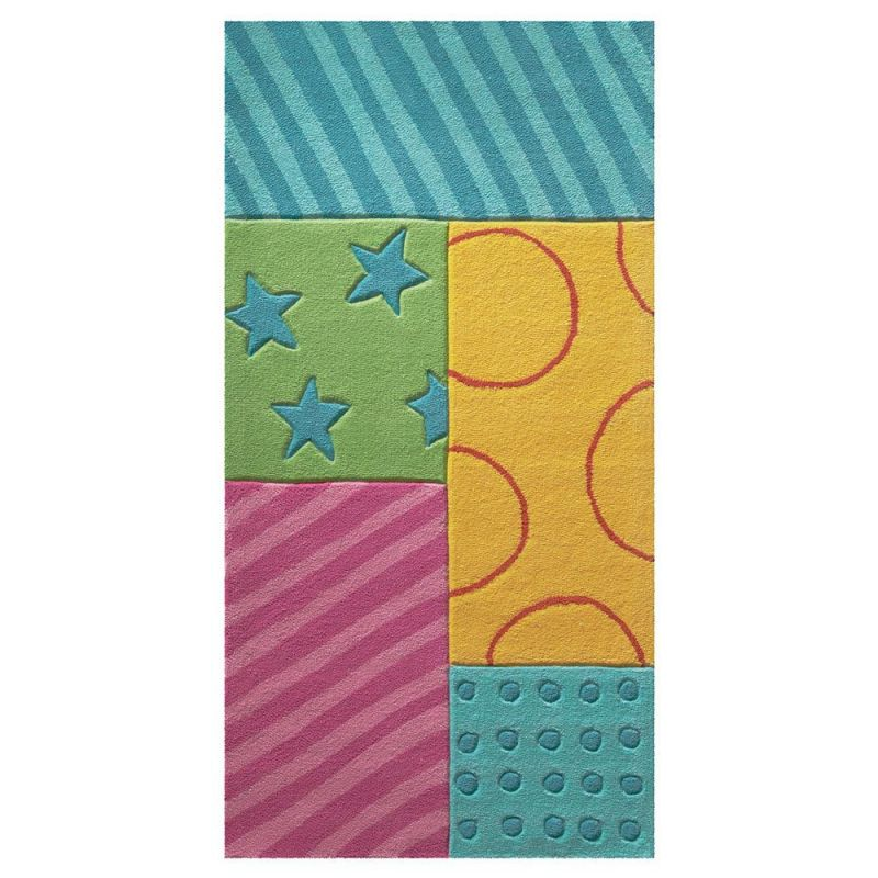 tapis enfant patchwork garden multicolore esprit home 70x140. Black Bedroom Furniture Sets. Home Design Ideas