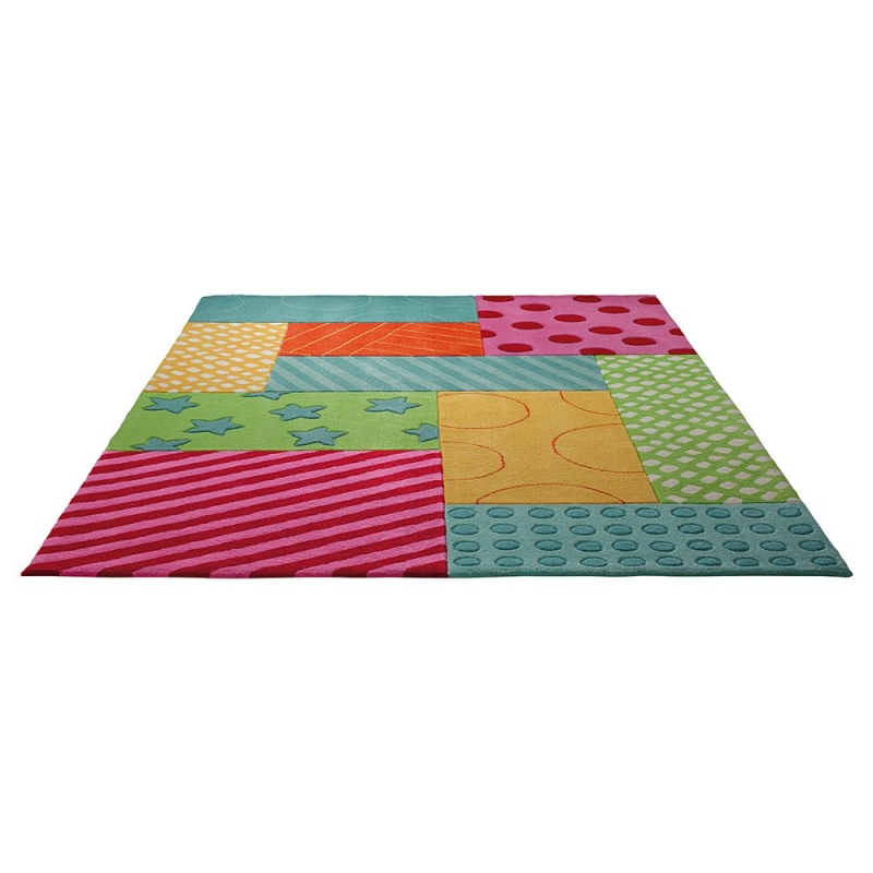 tapis enfant esprit home multicolore patchwork garden 140x200. Black Bedroom Furniture Sets. Home Design Ideas