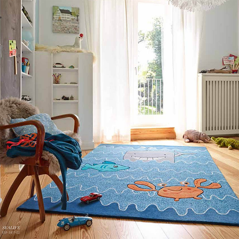 tapis enfant sealife bleu esprit home 70x140. Black Bedroom Furniture Sets. Home Design Ideas