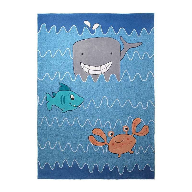 tapis enfant esprit home sealife bleu 140x200. Black Bedroom Furniture Sets. Home Design Ideas