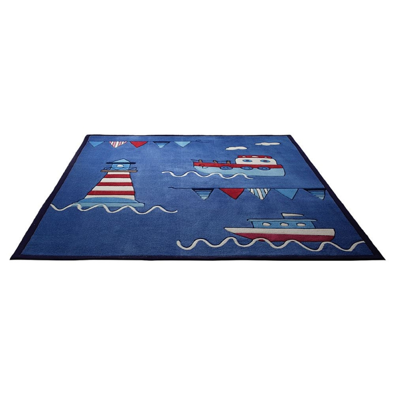 Tapis esprit home enfant captains world bleu 120x180 - Tapis bleu enfant ...