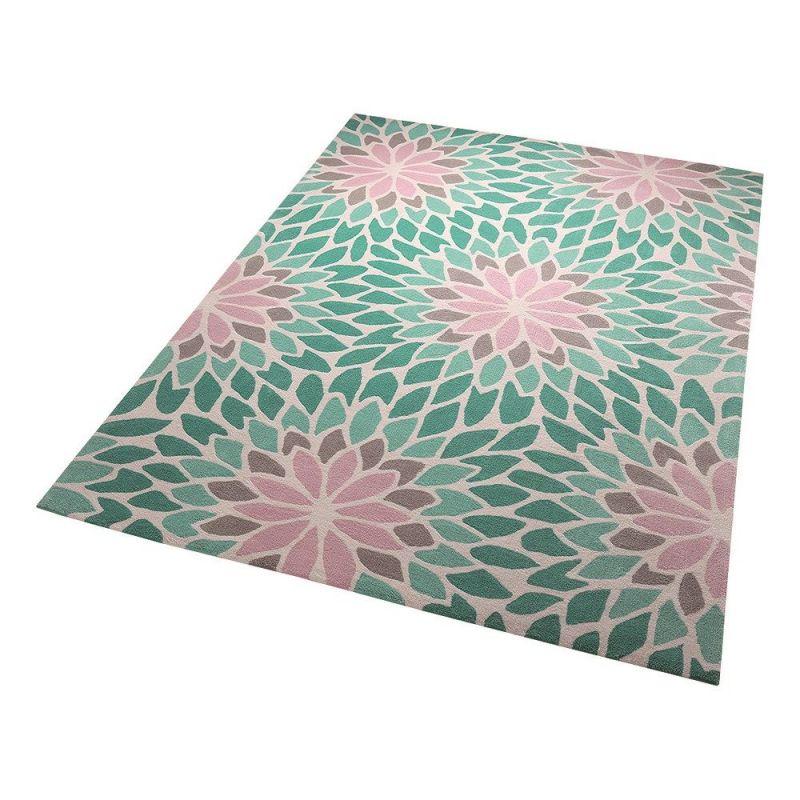 tapis esprit lotus moderne bleu 200x200. Black Bedroom Furniture Sets. Home Design Ideas