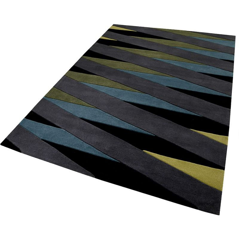 tapis moderne lamella bleu et taupe esprit 70x140. Black Bedroom Furniture Sets. Home Design Ideas