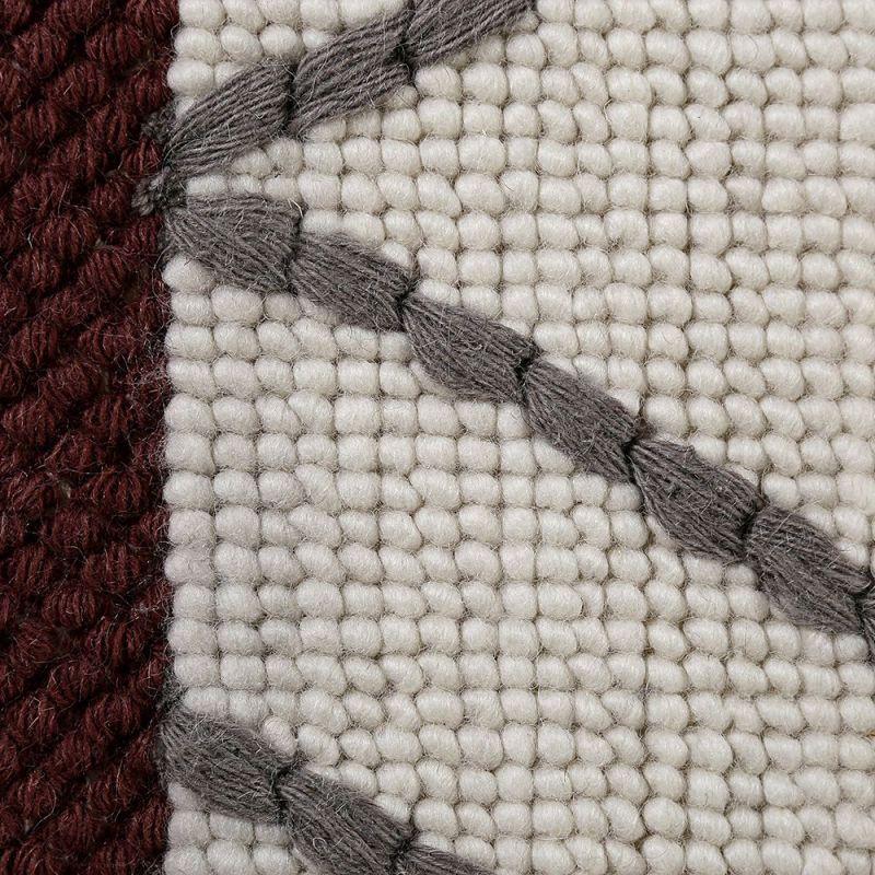 Tapis hexagon moderne blanc gris et bordeaux esprit 80x150 - Tapis blanc et gris ...