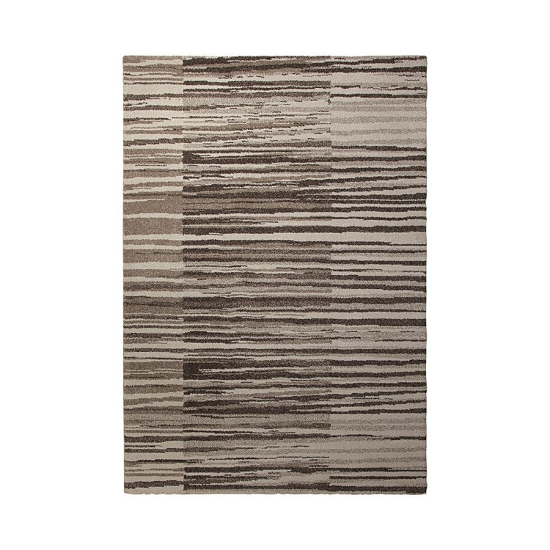 Tapis moderne ray beige corso esprit home 80x150 for Tapis raye noir beige