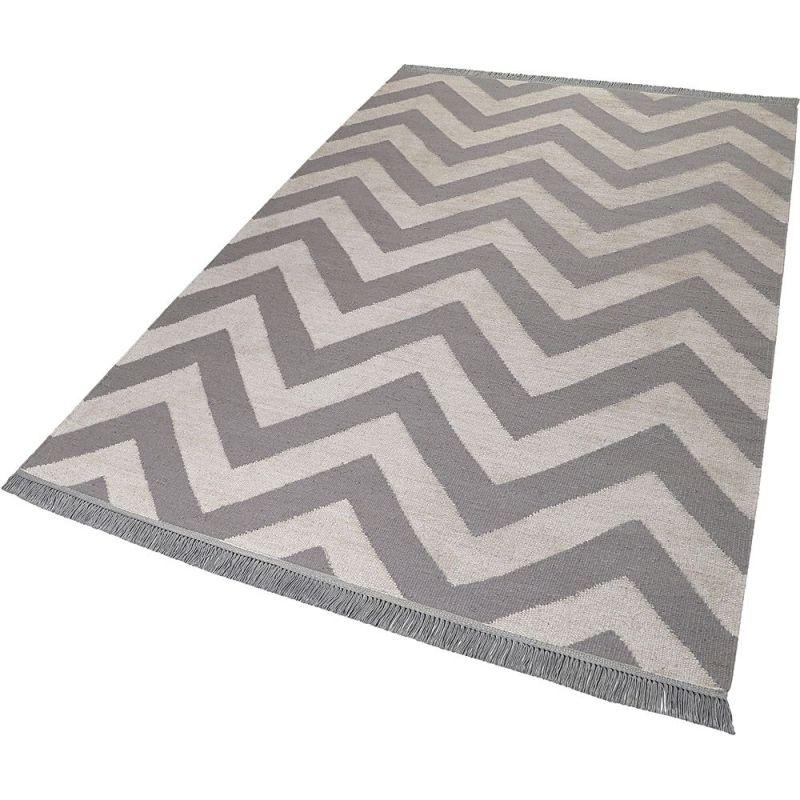Tapis Gris Et Blanc Moderne Zig Zag Carpets Co 160x230