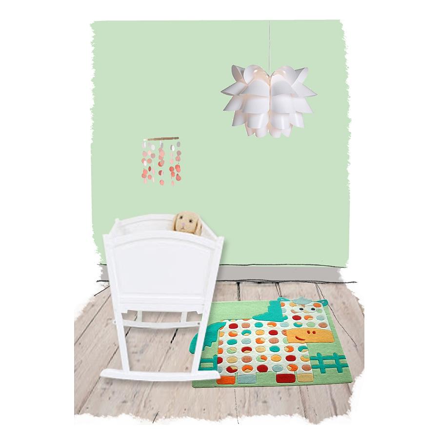 tapis carr pour b b cheval hector bleu et vert nattiot. Black Bedroom Furniture Sets. Home Design Ideas