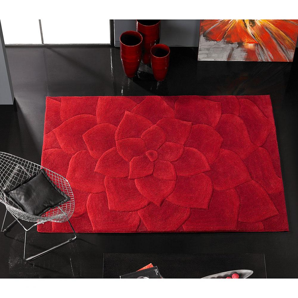 Tapis kalista en laine rouge carving 140x200 - Tapis rouge noir gris ...