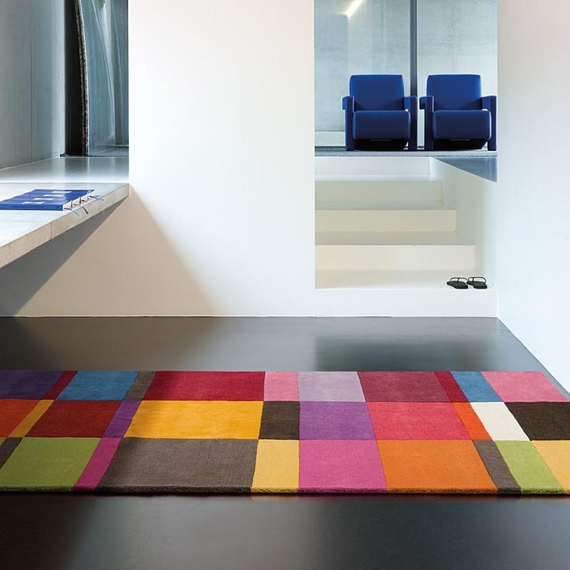tapis tuft main mutlicolore g om trique laine ligne pure love 200x300. Black Bedroom Furniture Sets. Home Design Ideas