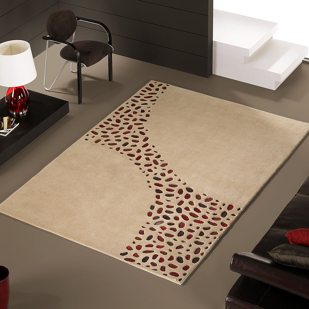 tapis loxton beige motifs en peaux carving 140x200. Black Bedroom Furniture Sets. Home Design Ideas