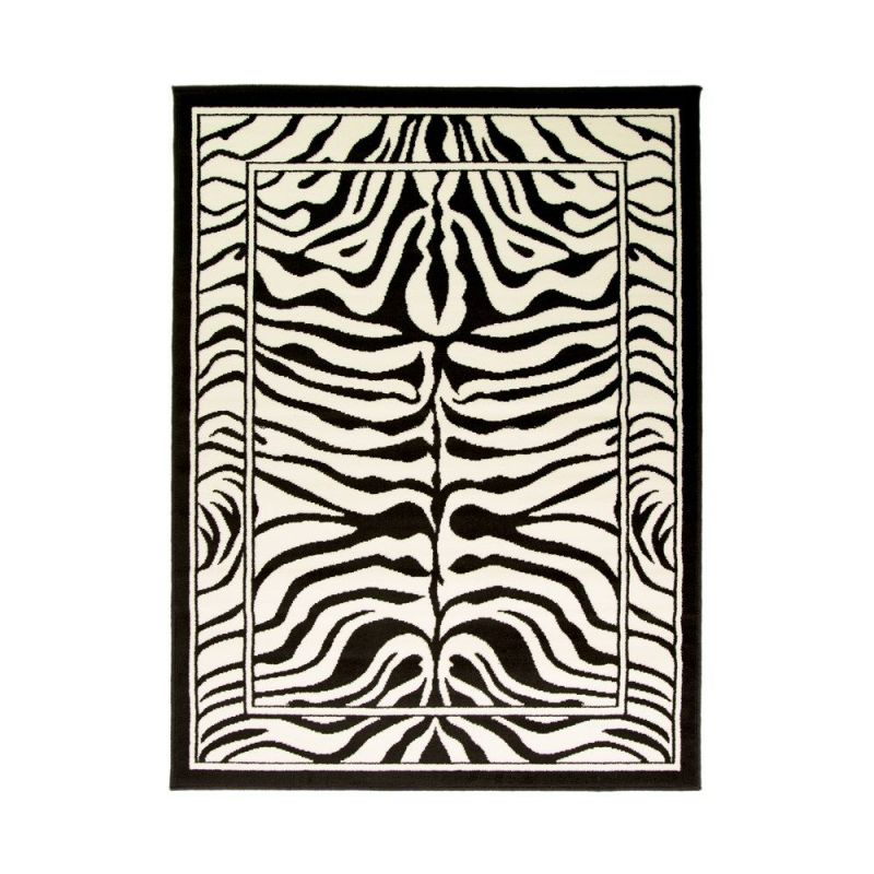 tapis moderne noir et blanc zebra flair rugs 120x160. Black Bedroom Furniture Sets. Home Design Ideas