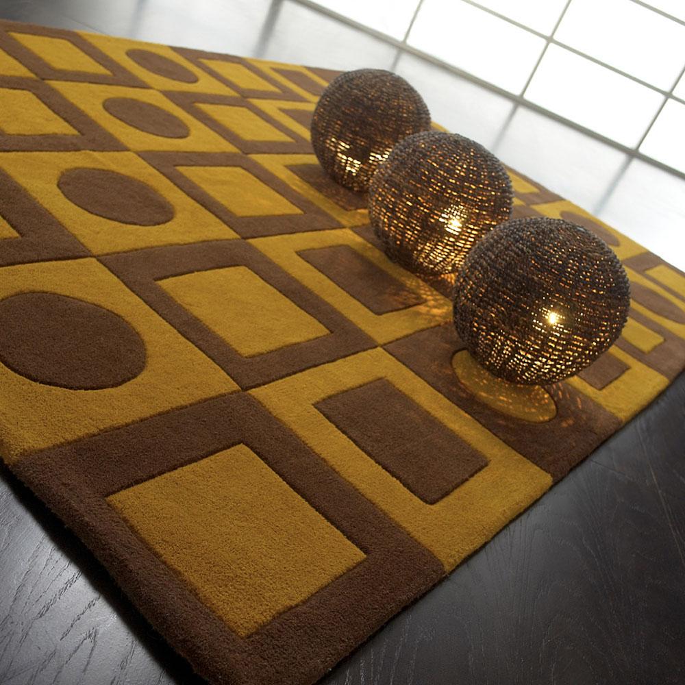 Tapis en laine marron simbols carving 140x200 for Tapis salon xxl
