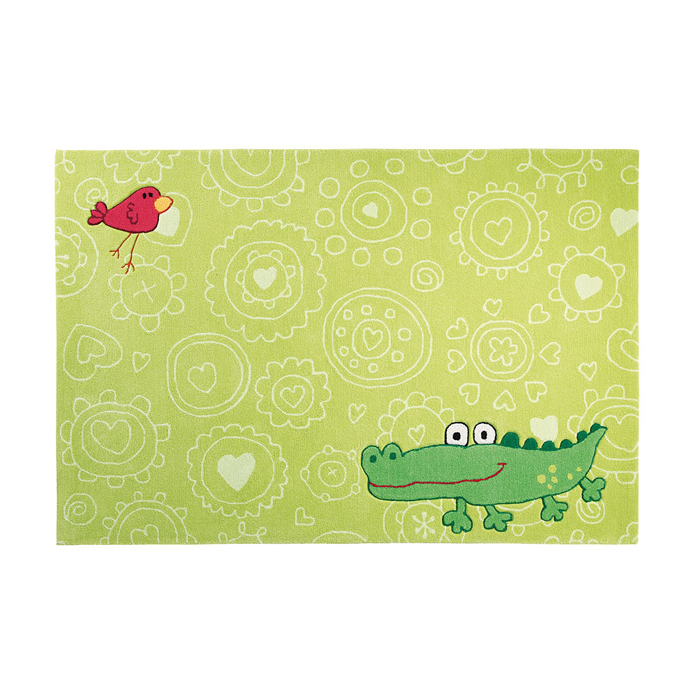 tapis enfant vert happy zoo crocodile sigikid 140x200. Black Bedroom Furniture Sets. Home Design Ideas