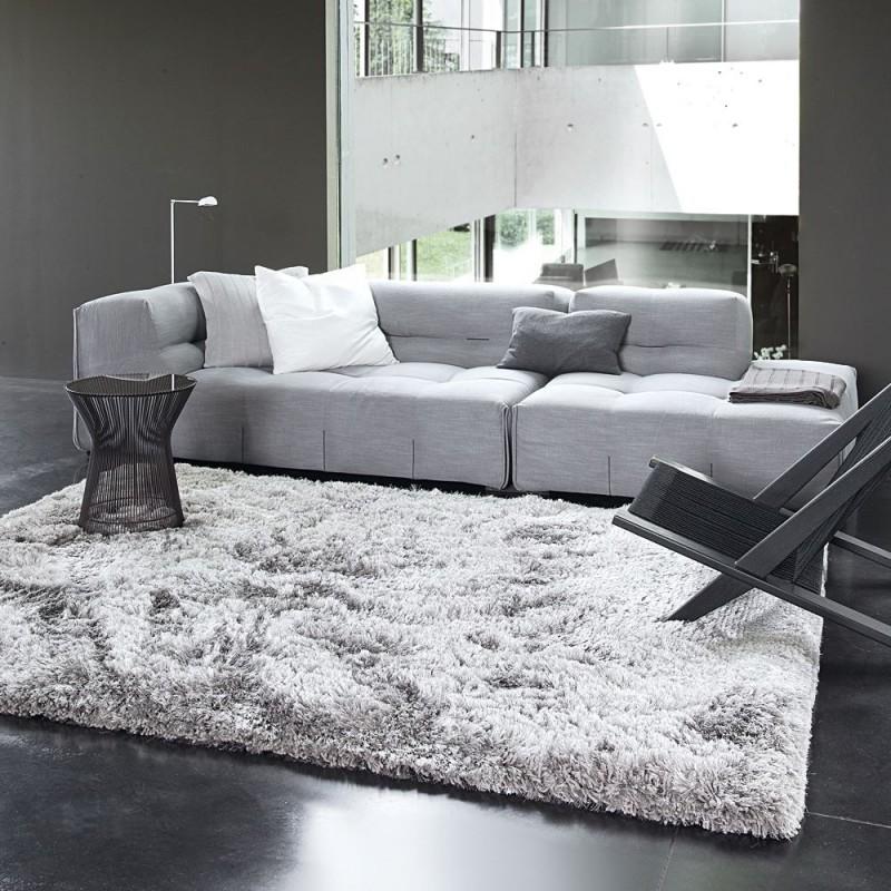 Tapis shaggy adore ligne pure tiss main gris 170x240 for Tapis salon xxl