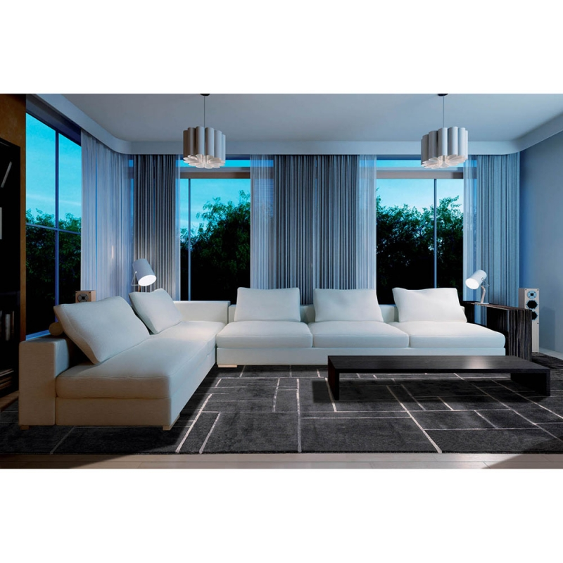 tapis en laine gris fonc bali nou main angelo 250x350. Black Bedroom Furniture Sets. Home Design Ideas