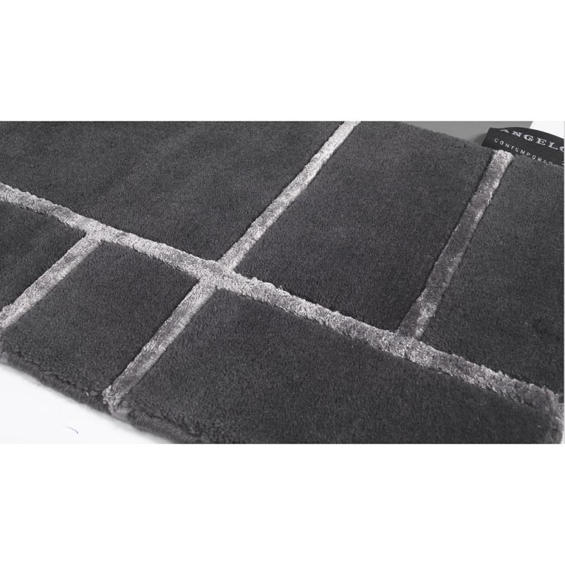 tapis en laine gris fonc bali nou main angelo 250x350. Black Bedroom Furniture Sets. Home Design Ideas