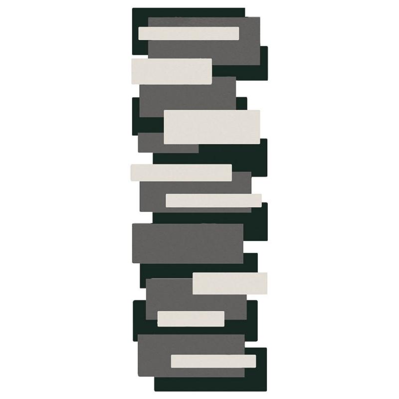 Tapis de couloir en laine pebbles noir et blanc angelo 70x250 - Couloir noir et blanc ...