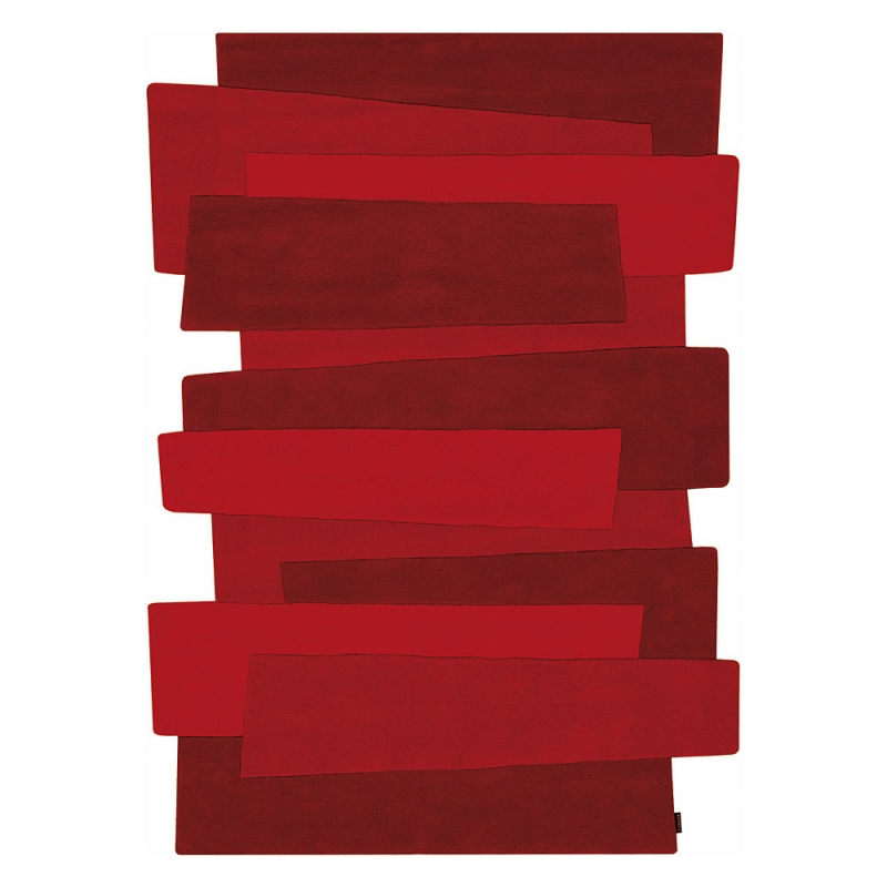 port offert tapis design rouge en laine pebbles angelo - Tapis Design
