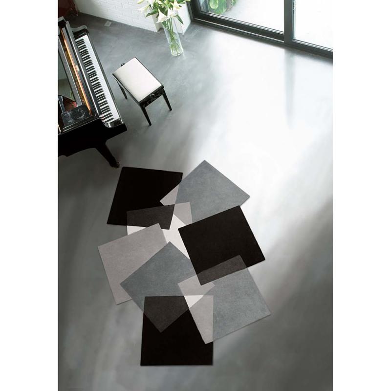 Tapis design angelo pebbles noir et blanc 200x300 - Tapis design noir et blanc ...