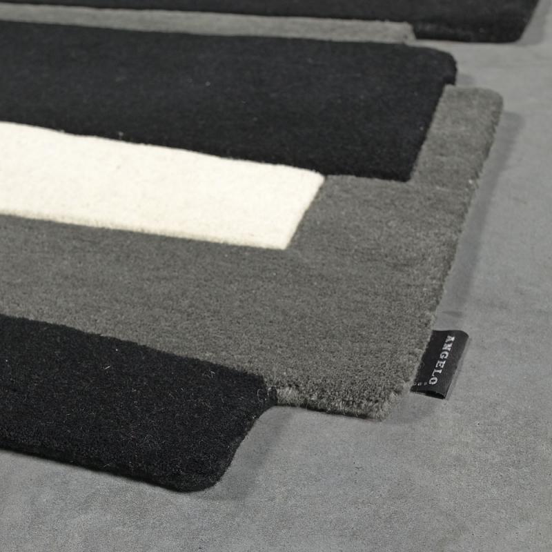 Tapis design angelo en laine pebbles noir et blanc 140x200 - Tapis noir et blanc design ...