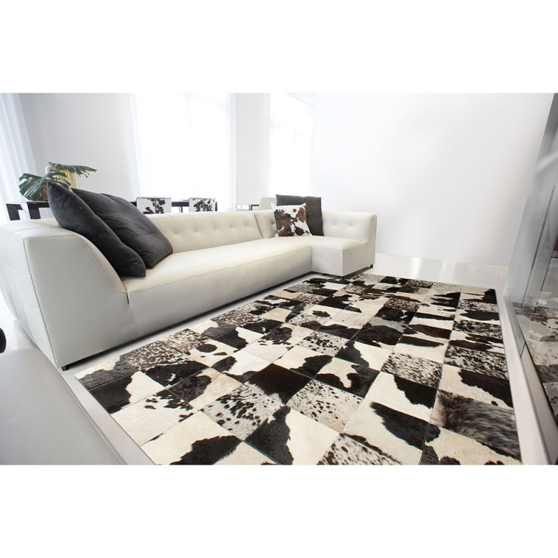 Tapis patchwork cuir starless motif vache angelo 170x240 - Tapis patchwork cuir ...
