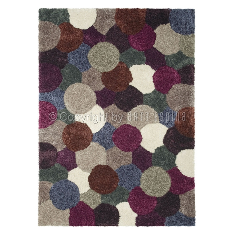 Tapis poil long dance gris et prune arte espina 90x160 for Tapis etroit et long