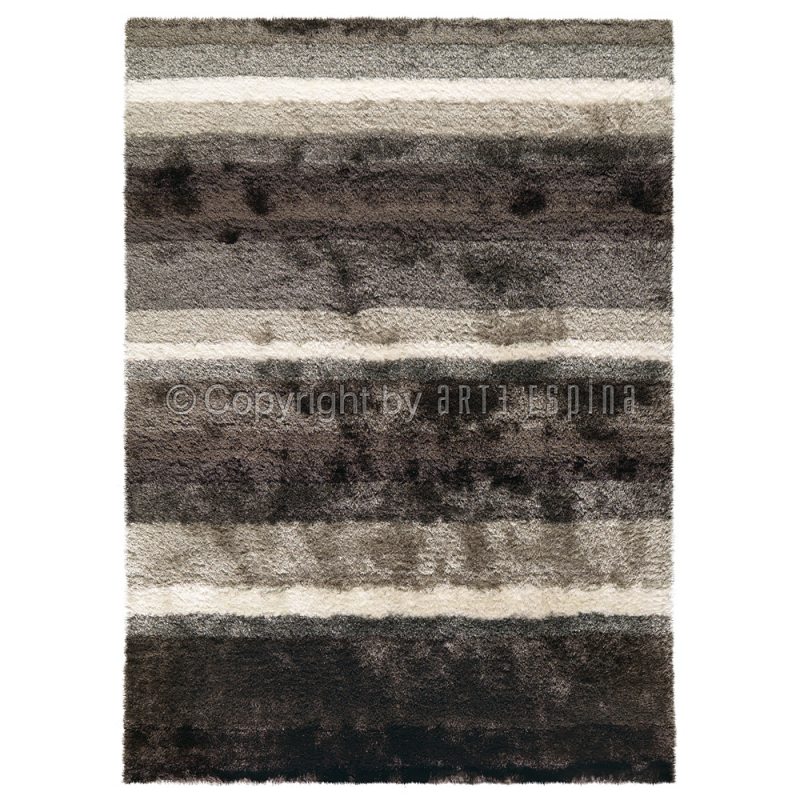 tapis arte espina gris et blanc poil long funky 200x200. Black Bedroom Furniture Sets. Home Design Ideas