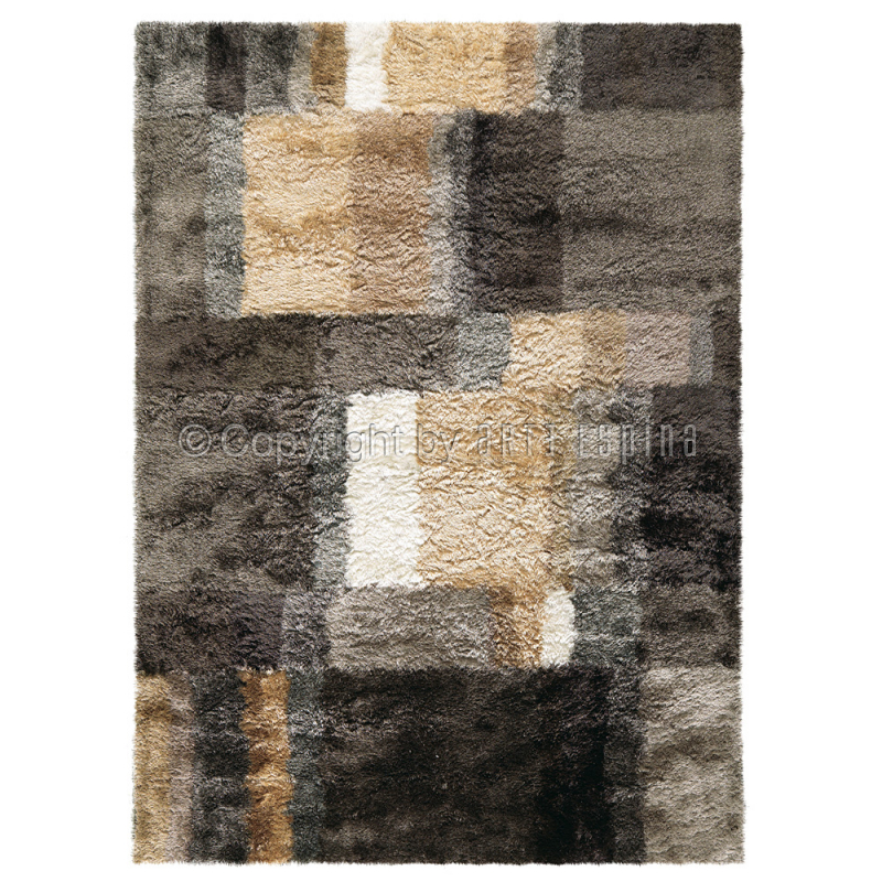 tapis shaggy funky marron et beige arte espina 70x140. Black Bedroom Furniture Sets. Home Design Ideas