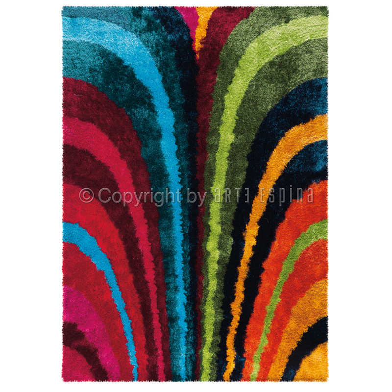 tapis poils longs funky rainbow multicolore arte espina. Black Bedroom Furniture Sets. Home Design Ideas