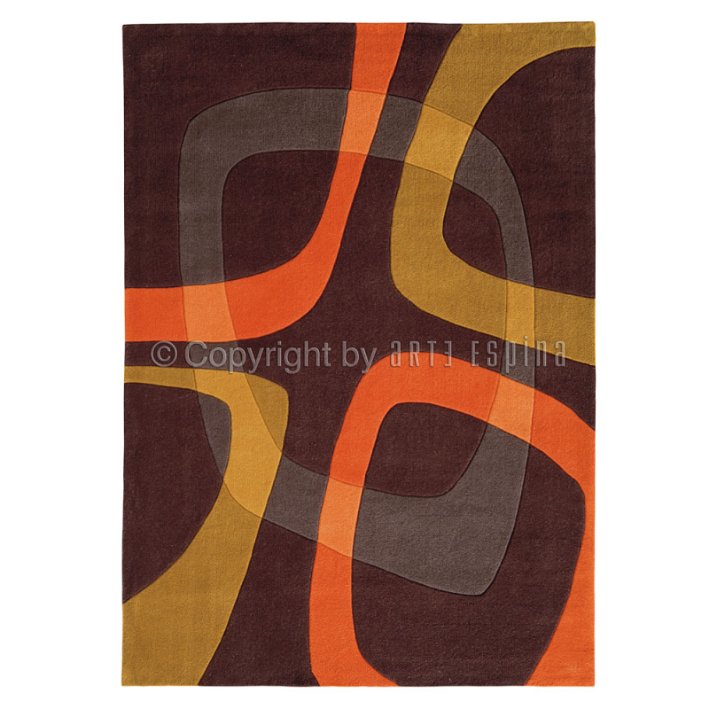 Tapis Salon Orange Et Marron : Tapis showtime marron et orange arte espina