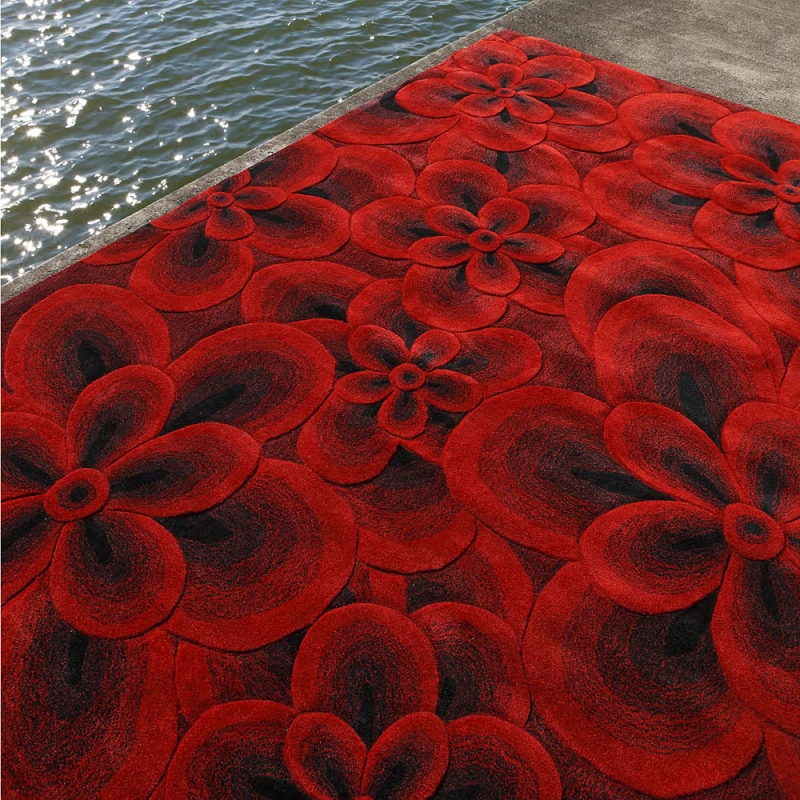 tapis flower rouge carving 140x200. Black Bedroom Furniture Sets. Home Design Ideas