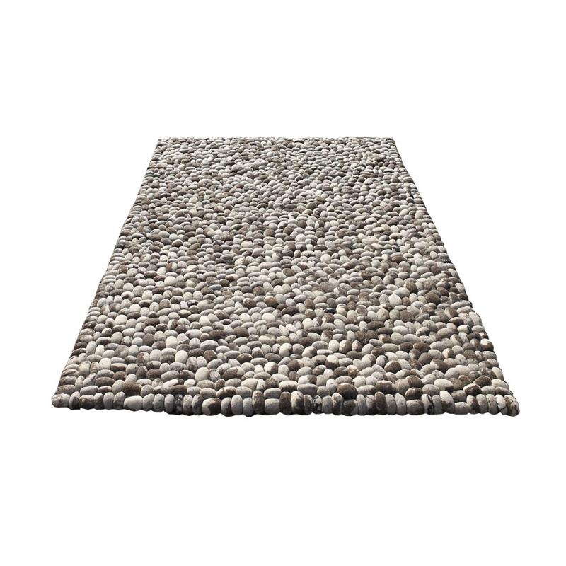 Très Tapis en laine gris fait main stones carving 140x200 JU01