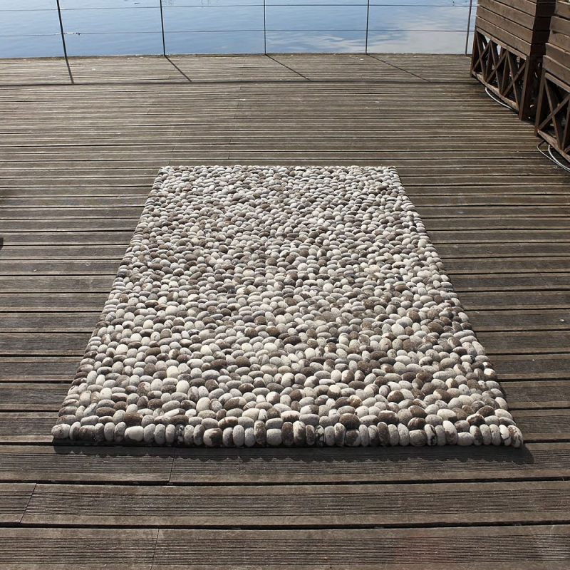 tapis en laine gris fait main stones carving 140x200. Black Bedroom Furniture Sets. Home Design Ideas