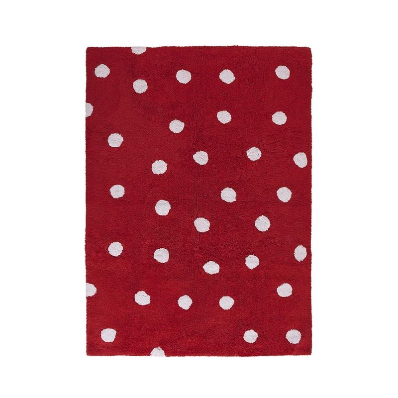 tapis enfant topos rouge lorena canals 120x160. Black Bedroom Furniture Sets. Home Design Ideas