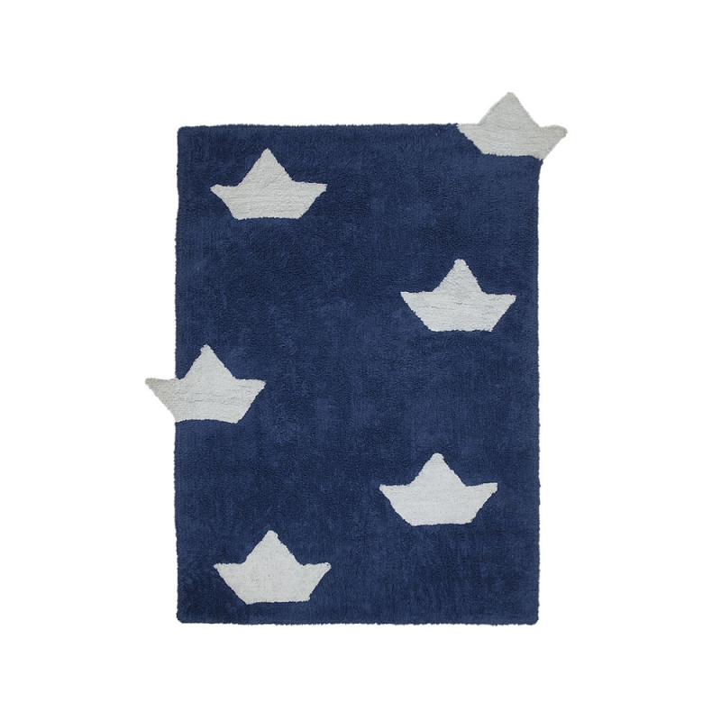 tapis enfant barquitos bleu marine lorena canals 120x160. Black Bedroom Furniture Sets. Home Design Ideas