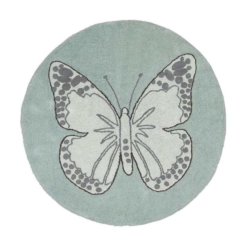 tapis enfant butterfly vintage gris vert lorena canals 160x160. Black Bedroom Furniture Sets. Home Design Ideas
