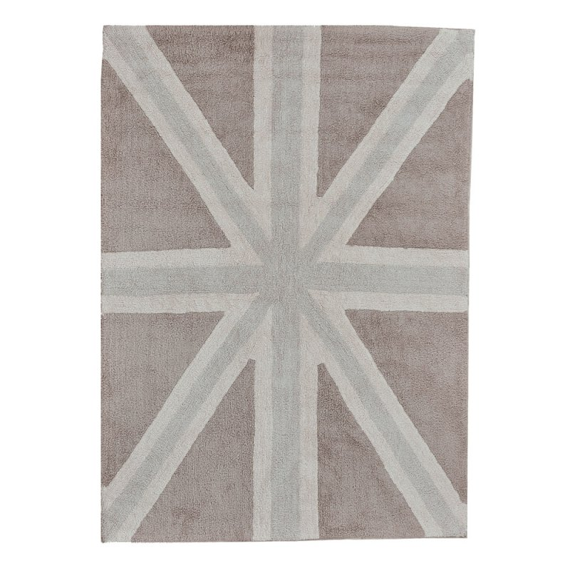 tapis enfant flag england marron et gris lorena canals 140x200. Black Bedroom Furniture Sets. Home Design Ideas