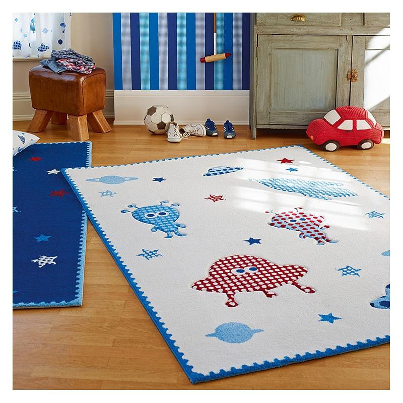 tapis little astronauts blanc esprit home 80x150. Black Bedroom Furniture Sets. Home Design Ideas
