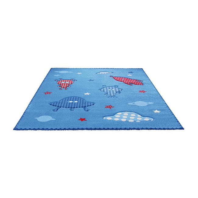 tapis bleu little astronauts esprit home 133x200. Black Bedroom Furniture Sets. Home Design Ideas