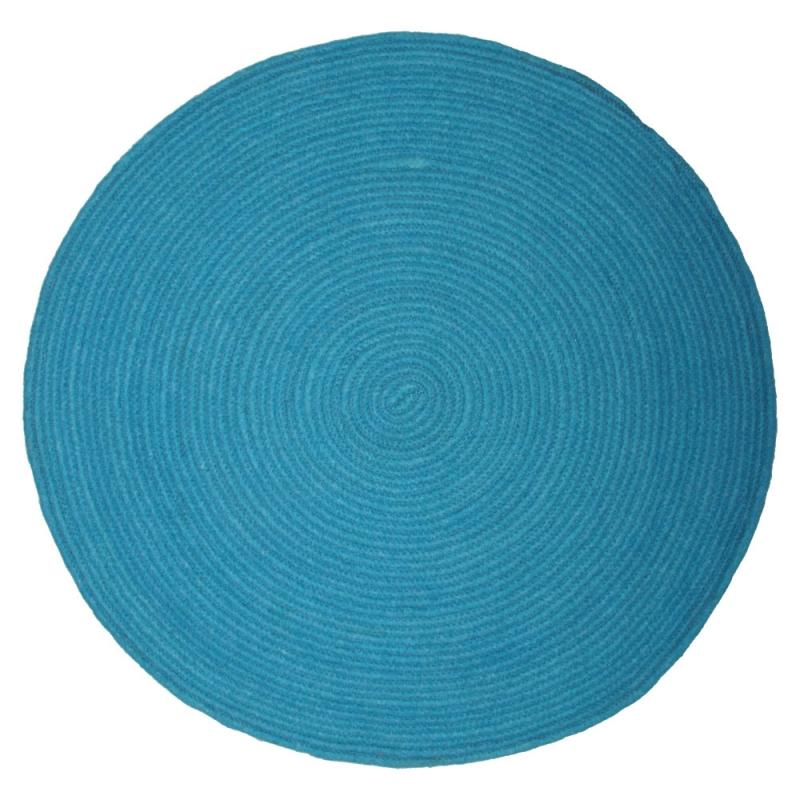 tapis rond bleu enfant halo 1 pied sur terre 90x90. Black Bedroom Furniture Sets. Home Design Ideas
