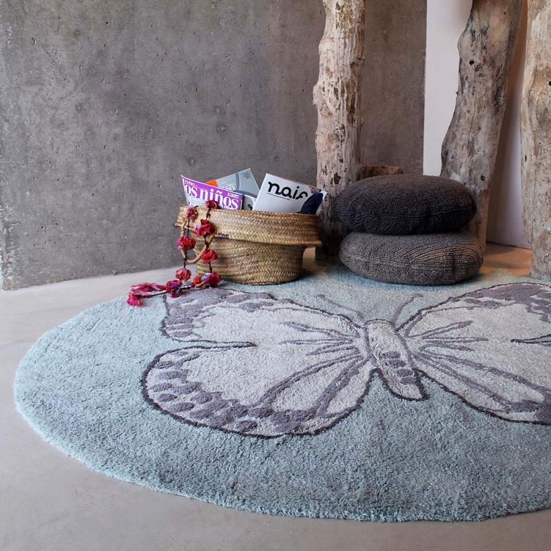 tapis enfant butterfly vintage gris vert lorena canals. Black Bedroom Furniture Sets. Home Design Ideas