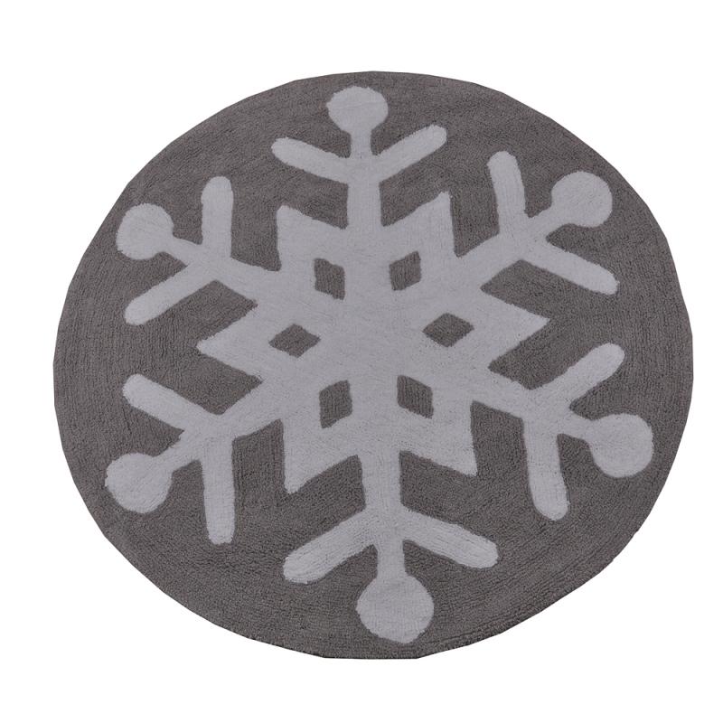 tapis enfant snowflake gris et blanc lorena canals 140x140. Black Bedroom Furniture Sets. Home Design Ideas