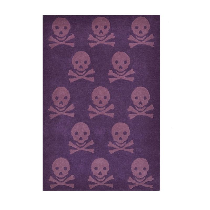 tapis enfant en laine skull violet lorena canals 140x200. Black Bedroom Furniture Sets. Home Design Ideas