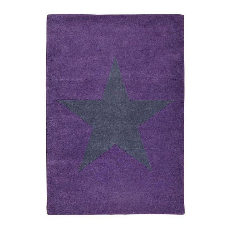 tapis enfant en laine star violet toile anthracite lorena canals 140x200. Black Bedroom Furniture Sets. Home Design Ideas