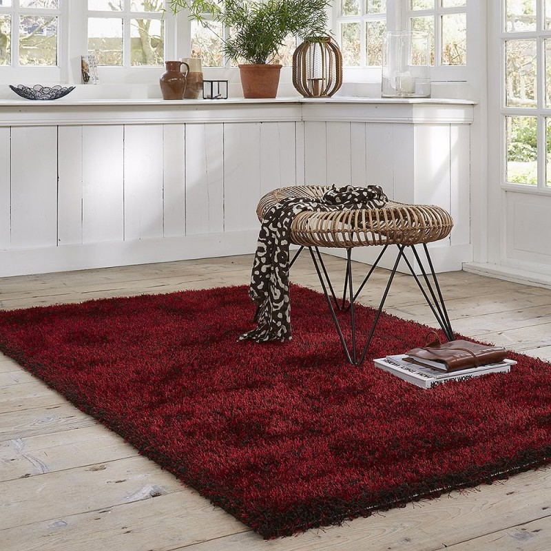 tapis shaggy rouge esprit home cosy glamour 240x340. Black Bedroom Furniture Sets. Home Design Ideas