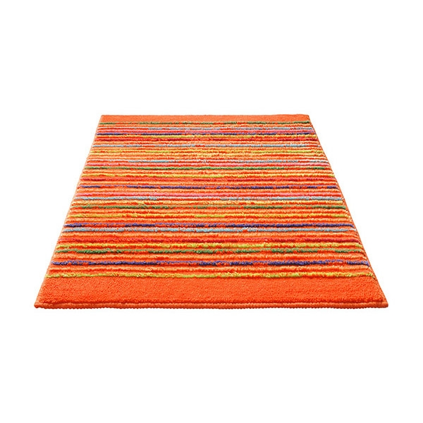 tapis de bain esprit home cool stripes orange 60x100. Black Bedroom Furniture Sets. Home Design Ideas
