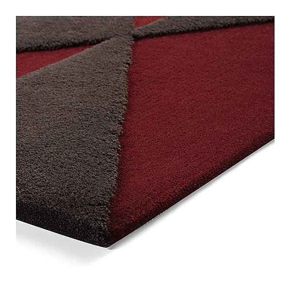 tapis taupe et rouge esprit home triangle 140x200. Black Bedroom Furniture Sets. Home Design Ideas