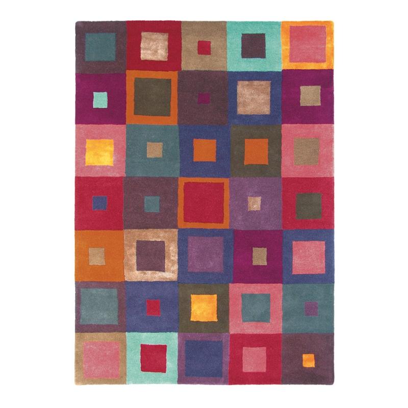tapis estella carre multicolore brink campman pure laine 140x200. Black Bedroom Furniture Sets. Home Design Ideas